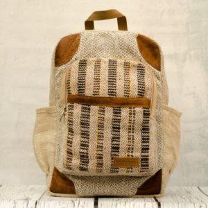 Рюкзак из конопли Нарантан, карман бежевые полоски
